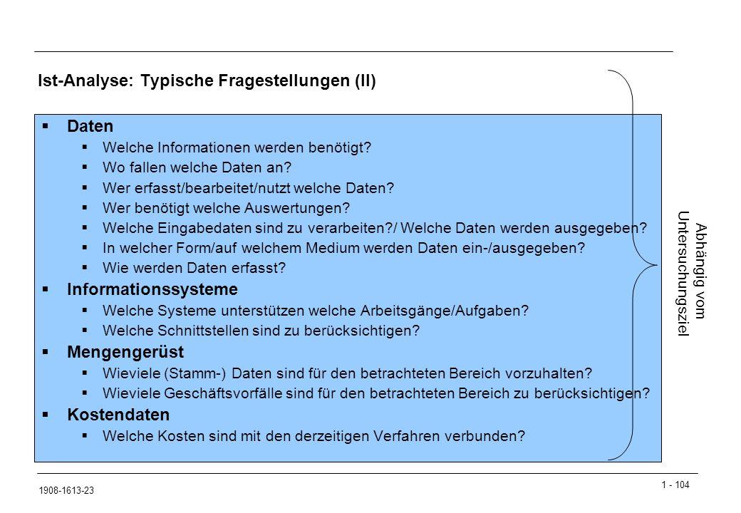 1 - 104 1908-1613-23 Ist-Analyse: Typische Fragestellungen (II)  Daten  Welche Informationen werden benötigt.