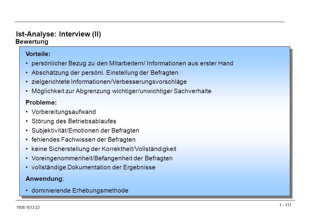 1 - 111 1908-1613-23 Ist-Analyse: Interview (II) Vorteile: persönlicher Bezug zu den Mitarbeitern/ Informationen aus erster Hand Abschätzung der persönl.