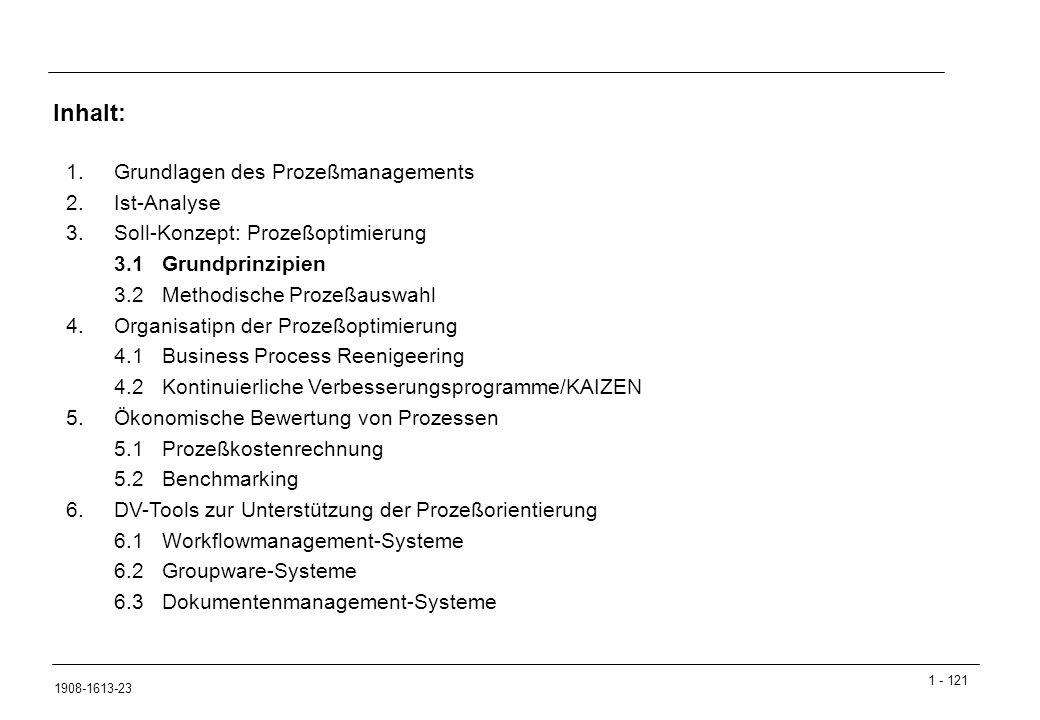 1 - 121 1908-1613-23 1.Grundlagen des Prozeßmanagements 2.Ist-Analyse 3.Soll-Konzept: Prozeßoptimierung 3.1Grundprinzipien 3.2Methodische Prozeßauswahl 4.Organisatipn der Prozeßoptimierung 4.1Business Process Reenigeering 4.2Kontinuierliche Verbesserungsprogramme/KAIZEN 5.Ökonomische Bewertung von Prozessen 5.1Prozeßkostenrechnung 5.2Benchmarking 6.DV-Tools zur Unterstützung der Prozeßorientierung 6.1Workflowmanagement-Systeme 6.2Groupware-Systeme 6.3Dokumentenmanagement-Systeme Inhalt: