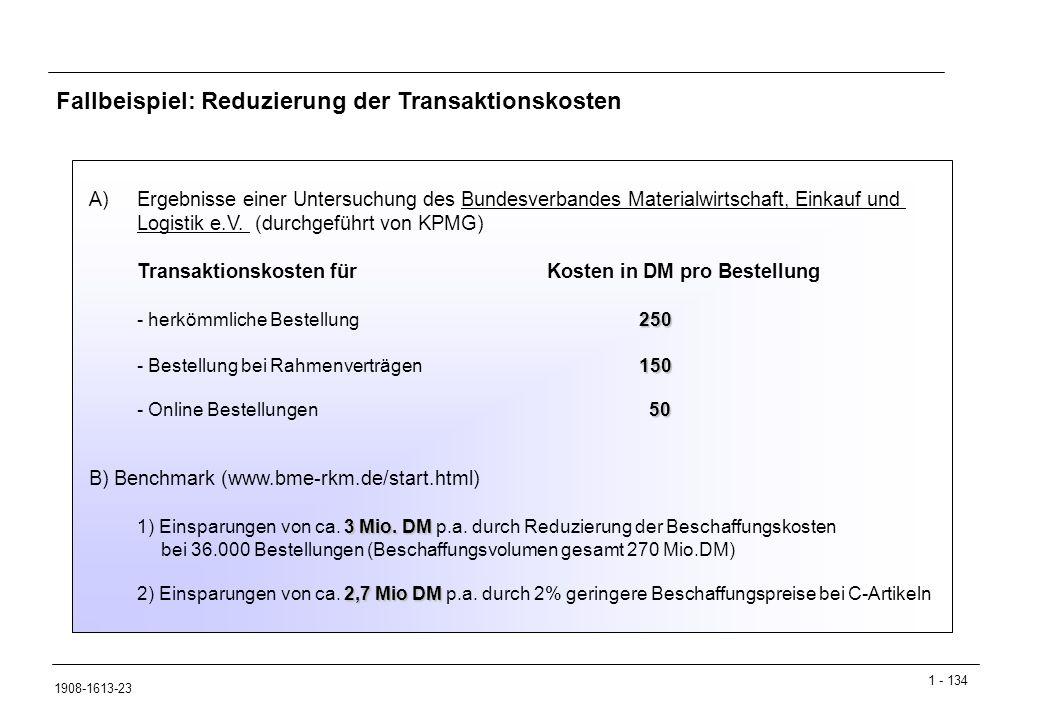 1 - 134 1908-1613-23 Fallbeispiel: Reduzierung der Transaktionskosten A)Ergebnisse einer Untersuchung des Bundesverbandes Materialwirtschaft, Einkauf und Logistik e.V.