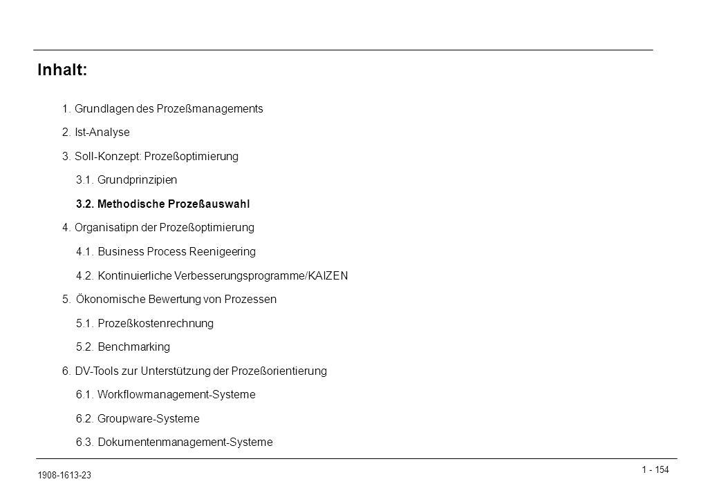 1 - 154 1908-1613-23 1.Grundlagen des Prozeßmanagements 2.