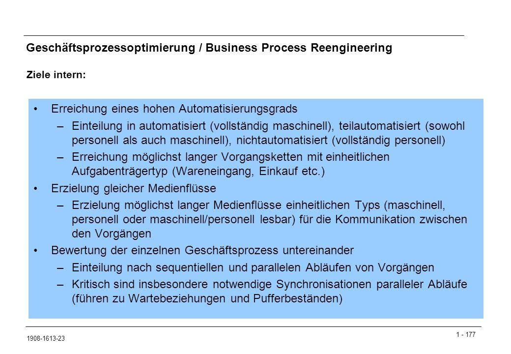 1 - 177 1908-1613-23 Geschäftsprozessoptimierung / Business Process Reengineering Ziele intern: Erreichung eines hohen Automatisierungsgrads –Einteilung in automatisiert (vollständig maschinell), teilautomatisiert (sowohl personell als auch maschinell), nichtautomatisiert (vollständig personell) –Erreichung möglichst langer Vorgangsketten mit einheitlichen Aufgabenträgertyp (Wareneingang, Einkauf etc.) Erzielung gleicher Medienflüsse –Erzielung möglichst langer Medienflüsse einheitlichen Typs (maschinell, personell oder maschinell/personell lesbar) für die Kommunikation zwischen den Vorgängen Bewertung der einzelnen Geschäftsprozess untereinander –Einteilung nach sequentiellen und parallelen Abläufen von Vorgängen –Kritisch sind insbesondere notwendige Synchronisationen paralleler Abläufe (führen zu Wartebeziehungen und Pufferbeständen)
