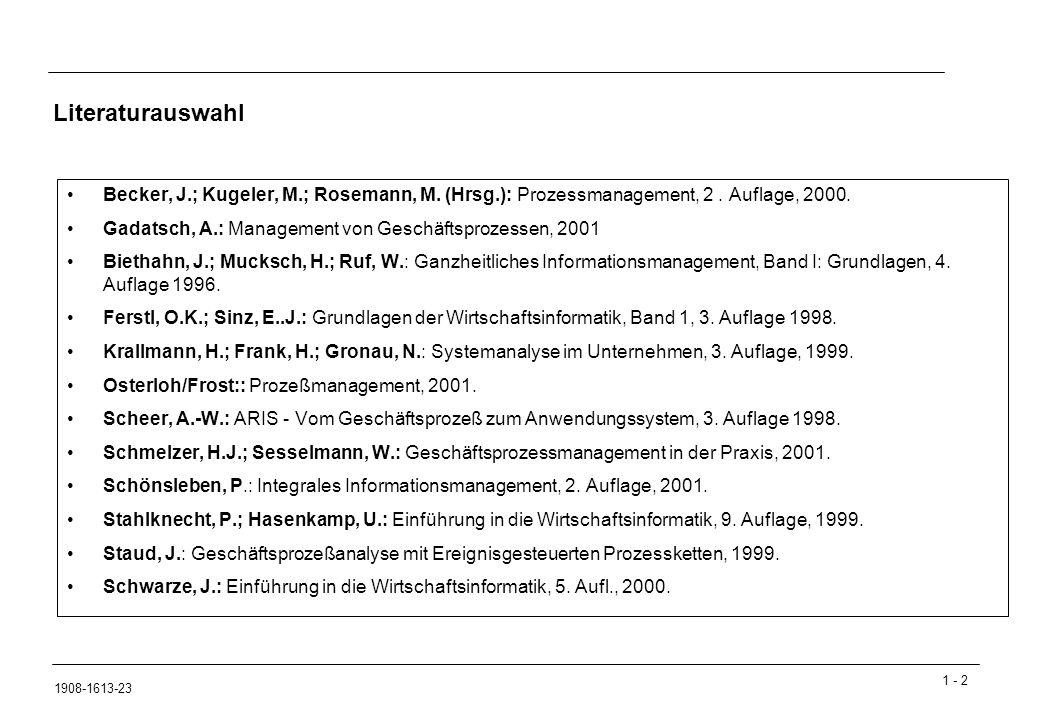 1 - 403 1908-1613-23 Geschäftsprozess Einteilung Hauptprozess: Kernprozess, erzeugt Wert, Kontakt zu Geschäftspartner Produktentwicklung, Einkauf, Produktion, Vertrieb Serviceprozess: abgeleiteter Prozess, unterstützt Hauptprozess Controlling, Personalmanagement, EDV-Abteilung, Rechtsabteilung