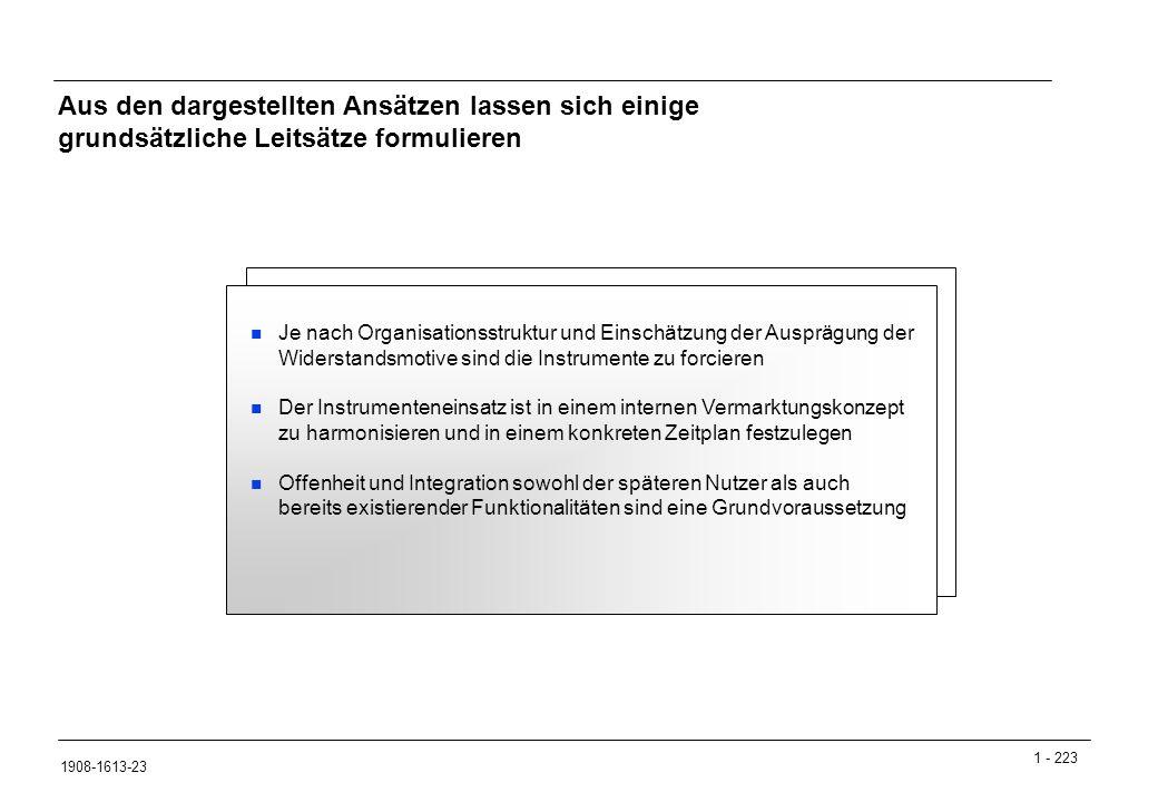 1 - 223 1908-1613-23 Je nach Organisationsstruktur und Einschätzung der Ausprägung der Widerstandsmotive sind die Instrumente zu forcieren Der Instrumenteneinsatz ist in einem internen Vermarktungskonzept zu harmonisieren und in einem konkreten Zeitplan festzulegen Offenheit und Integration sowohl der späteren Nutzer als auch bereits existierender Funktionalitäten sind eine Grundvoraussetzung Aus den dargestellten Ansätzen lassen sich einige grundsätzliche Leitsätze formulieren