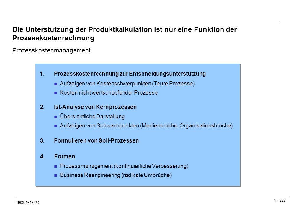 1 - 228 1908-1613-23 Die Unterstützung der Produktkalkulation ist nur eine Funktion der Prozesskostenrechnung Prozesskostenmanagement Aufzeigen von Kostenschwerpunkten (Teure Prozesse) Kosten nicht wertschöpfender Prozesse 1.Prozesskostenrechnung zur Entscheidungsunterstützung Übersichtliche Darstellung Aufzeigen von Schwachpunkten (Medienbrüche, Organisationsbrüche) 2.Ist-Analyse von Kernprozessen Prozessmanagement (kontinuierliche Verbesserung) Business Reengineering (radikale Umbrüche) 3.Formulieren von Soll-Prozessen 4.Formen
