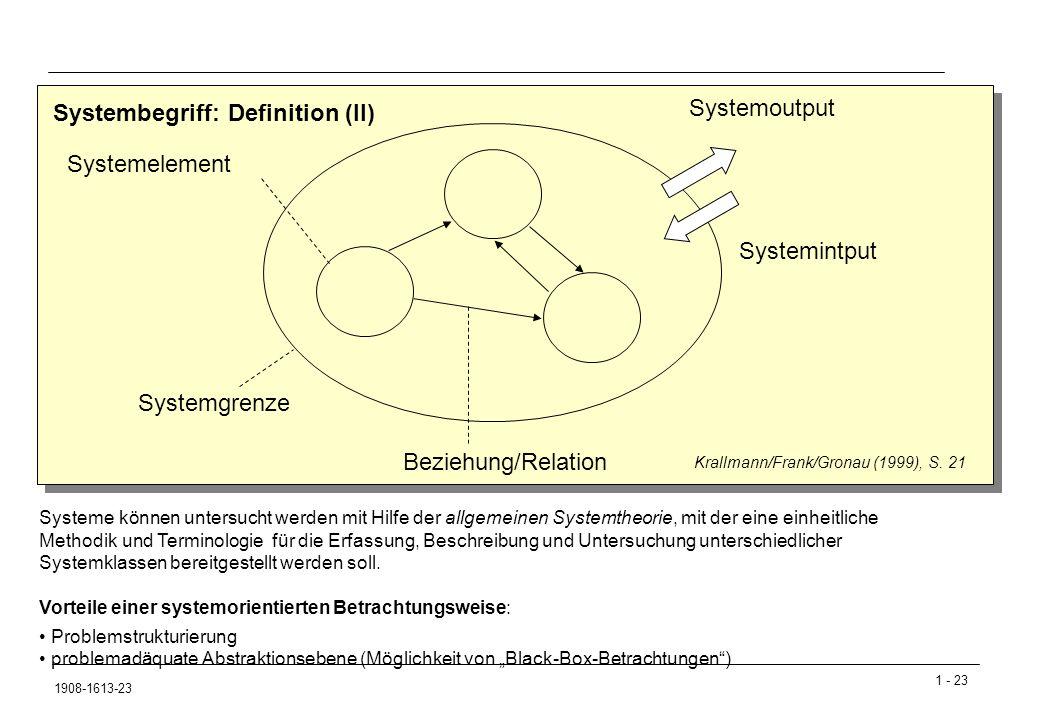 1 - 23 1908-1613-23 Systembegriff: Definition (II) Systemgrenze Systemelement Beziehung/Relation Systemoutput Systemintput Krallmann/Frank/Gronau (1999), S.