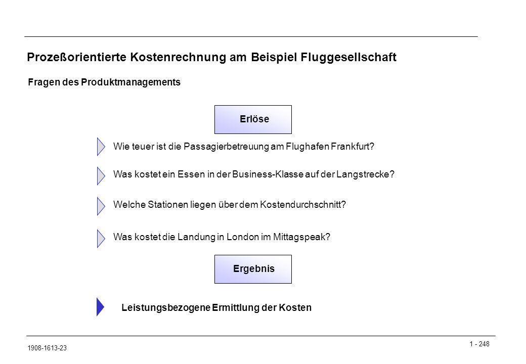 1 - 248 1908-1613-23 Prozeßorientierte Kostenrechnung am Beispiel Fluggesellschaft Fragen des Produktmanagements Wie teuer ist die Passagierbetreuung am Flughafen Frankfurt.