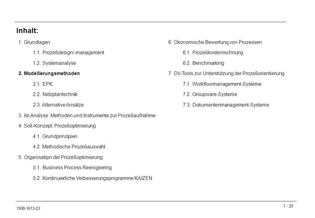 1 - 29 1908-1613-23 1. Grundlagen 1.1. Prozeßdesign/-management 1.2.
