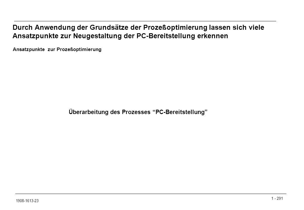 1 - 291 1908-1613-23 Durch Anwendung der Grundsätze der Prozeßoptimierung lassen sich viele Ansatzpunkte zur Neugestaltung der PC-Bereitstellung erkennen Überarbeitung des Prozesses PC-Bereitstellung Ansatzpunkte zur Prozeßoptimierung