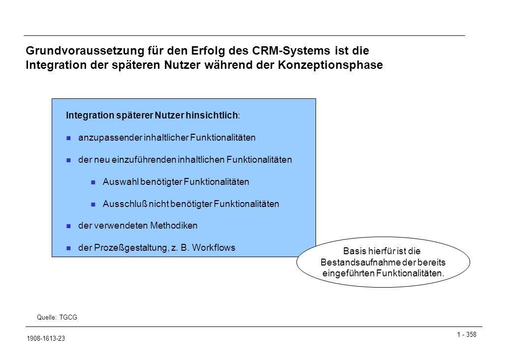 1 - 358 1908-1613-23 Grundvoraussetzung für den Erfolg des CRM-Systems ist die Integration der späteren Nutzer während der Konzeptionsphase Integratio