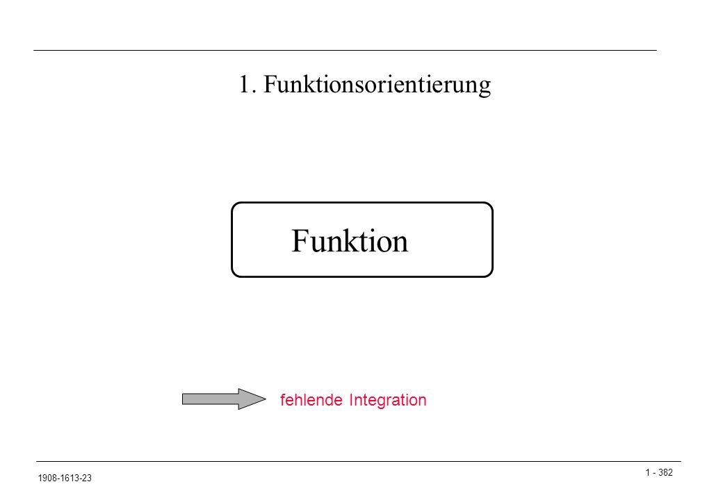 1 - 382 1908-1613-23 1. Funktionsorientierung Funktion fehlende Integration