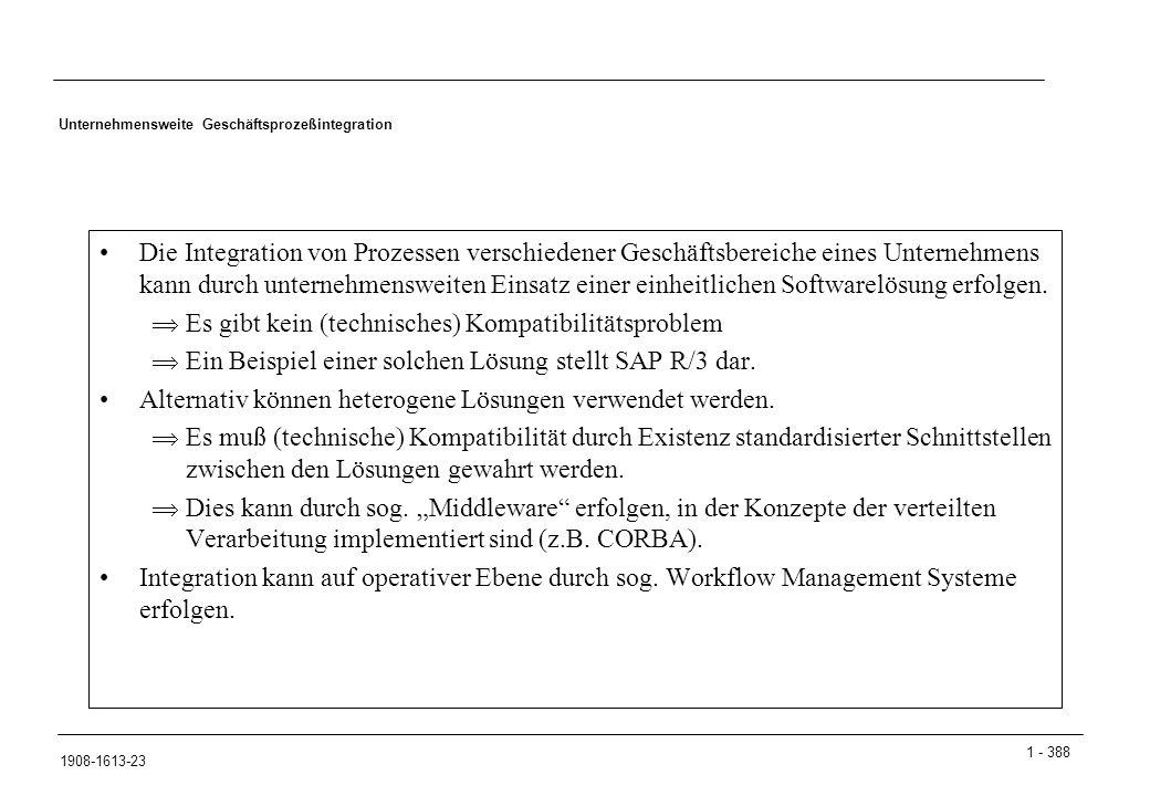 1 - 388 1908-1613-23 Unternehmensweite Geschäftsprozeßintegration Die Integration von Prozessen verschiedener Geschäftsbereiche eines Unternehmens kan