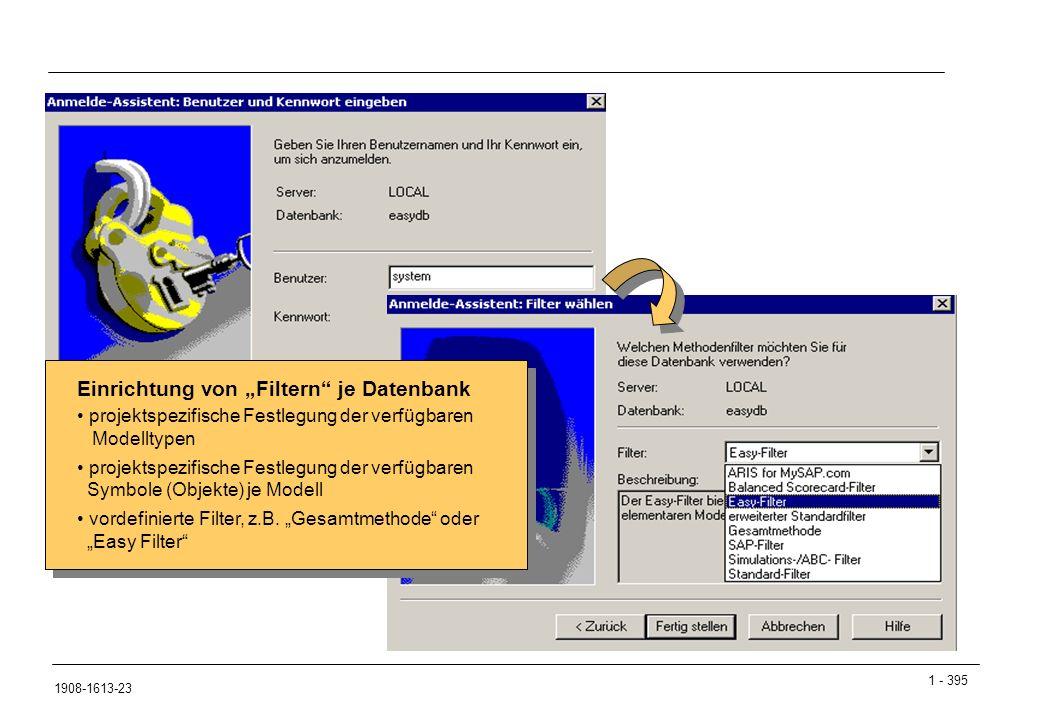 """1 - 395 1908-1613-23 ARIS-Datenbanken: Filter Einrichtung von """"Filtern"""" je Datenbank projektspezifische Festlegung der verfügbaren Modelltypen projekt"""