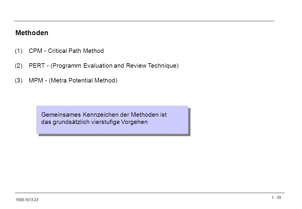 1 - 59 1908-1613-23 Methoden (1)CPM - Critical Path Method (2)PERT - (Programm Evaluation and Review Technique) (3)MPM - (Metra Potential Method) Geme