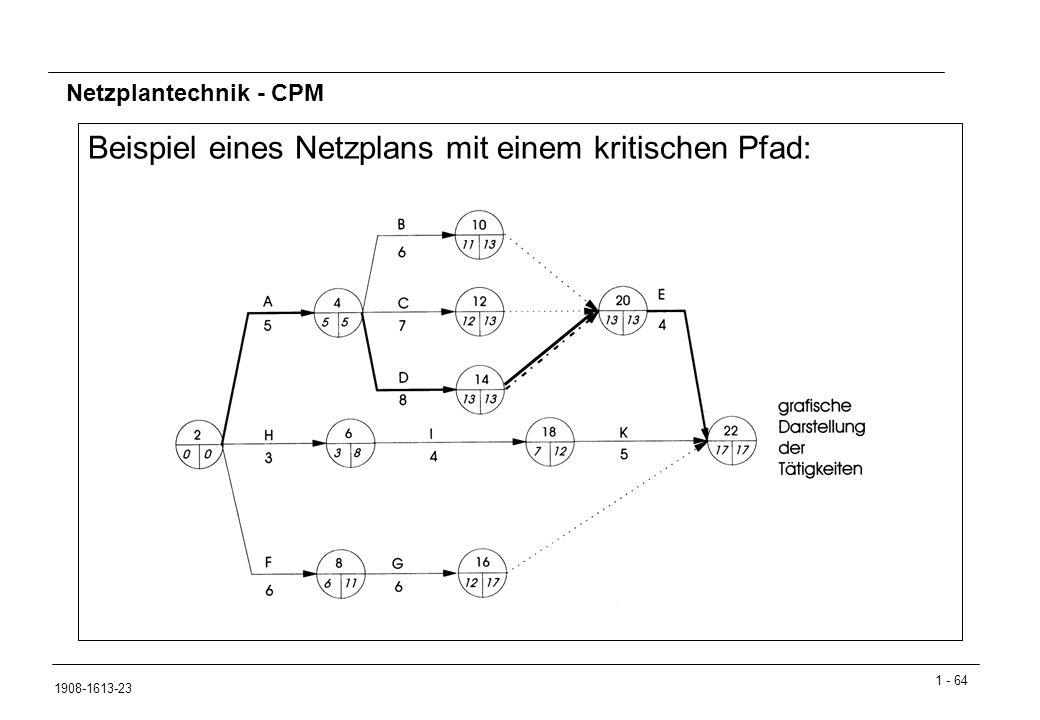 1 - 64 1908-1613-23 Netzplantechnik - CPM Beispiel eines Netzplans mit einem kritischen Pfad: