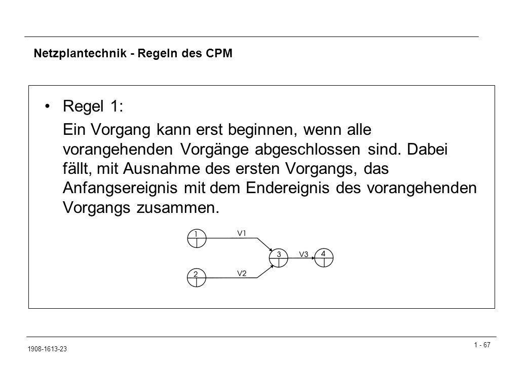 1 - 67 1908-1613-23 Netzplantechnik - Regeln des CPM Regel 1: Ein Vorgang kann erst beginnen, wenn alle vorangehenden Vorgänge abgeschlossen sind.