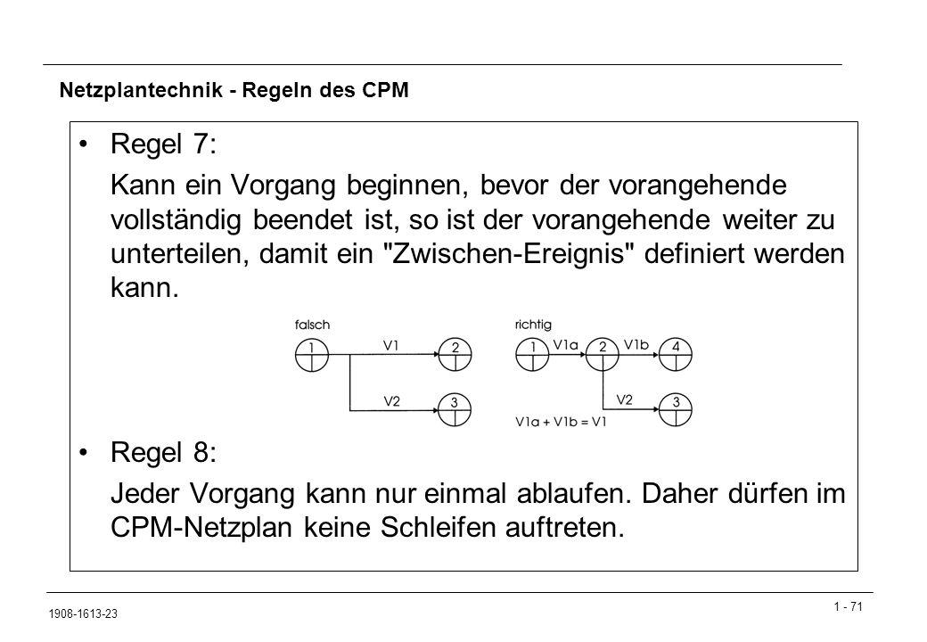1 - 71 1908-1613-23 Netzplantechnik - Regeln des CPM Regel 7: Kann ein Vorgang beginnen, bevor der vorangehende vollständig beendet ist, so ist der vorangehende weiter zu unterteilen, damit ein Zwischen-Ereignis definiert werden kann.
