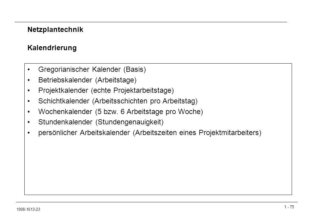 1 - 75 1908-1613-23 Netzplantechnik Gregorianischer Kalender (Basis) Betriebskalender (Arbeitstage) Projektkalender (echte Projektarbeitstage) Schichtkalender (Arbeitsschichten pro Arbeitstag) Wochenkalender (5 bzw.