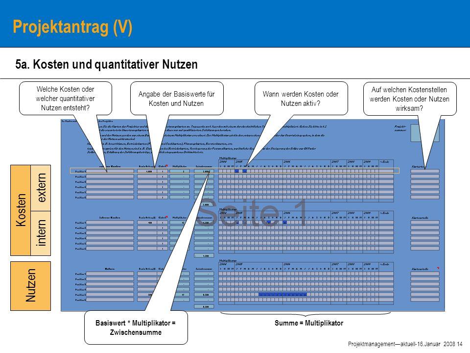14 Projektmanagement—aktuell-16.Januar 2008 Projektantrag (V) 5a.