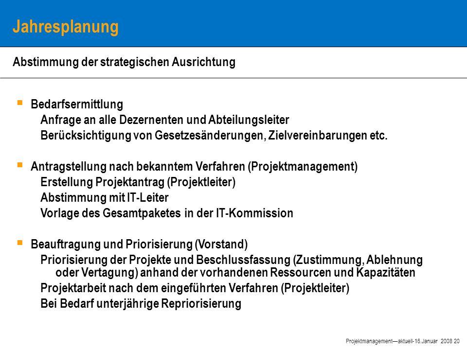 20 Projektmanagement—aktuell-16.Januar 2008 Jahresplanung  Bedarfsermittlung Anfrage an alle Dezernenten und Abteilungsleiter Berücksichtigung von Gesetzesänderungen, Zielvereinbarungen etc.