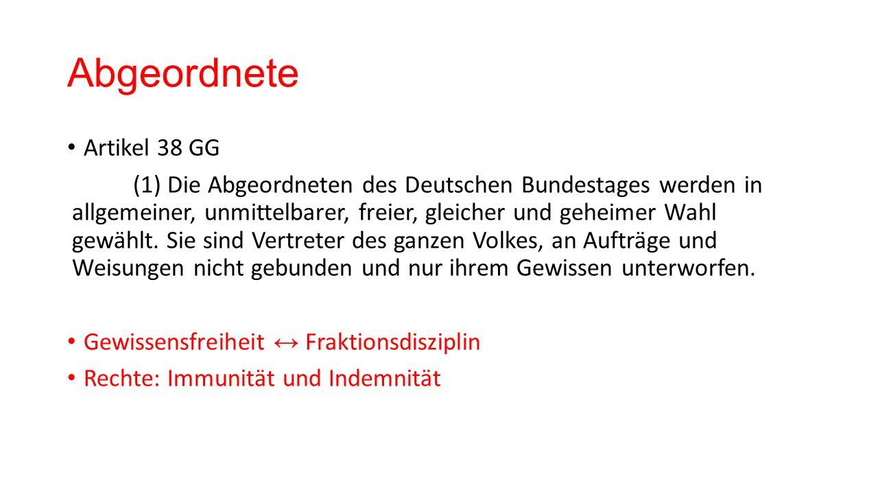 Abgeordnete Artikel 38 GG (1) Die Abgeordneten des Deutschen Bundestages werden in allgemeiner, unmittelbarer, freier, gleicher und geheimer Wahl gewä