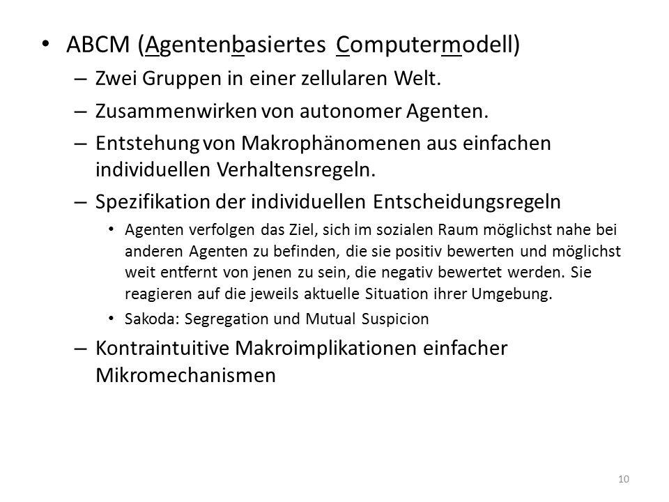 ABCM (Agentenbasiertes Computermodell) – Zwei Gruppen in einer zellularen Welt.