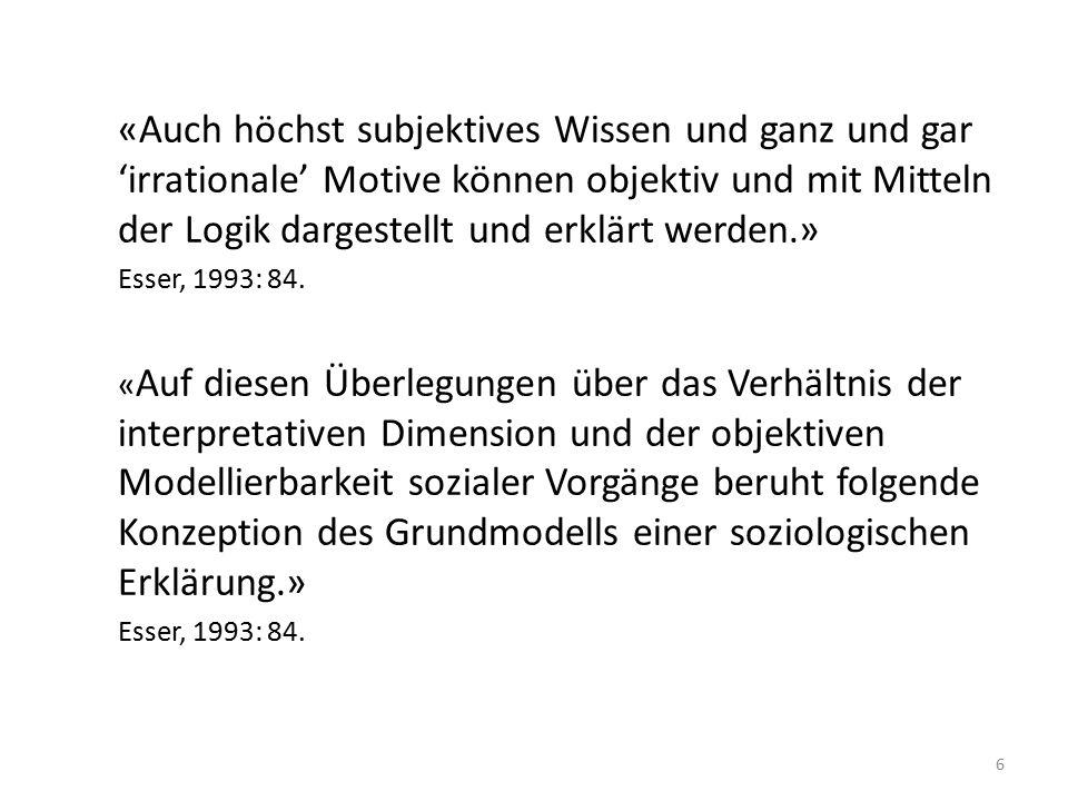 «Auch höchst subjektives Wissen und ganz und gar 'irrationale' Motive können objektiv und mit Mitteln der Logik dargestellt und erklärt werden.» Esser, 1993: 84.
