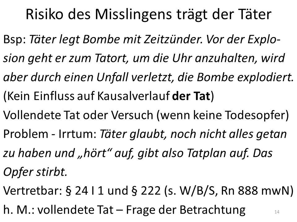Risiko des Misslingens trägt der Täter Bsp: Täter legt Bombe mit Zeitzünder. Vor der Explo- sion geht er zum Tatort, um die Uhr anzuhalten, wird aber