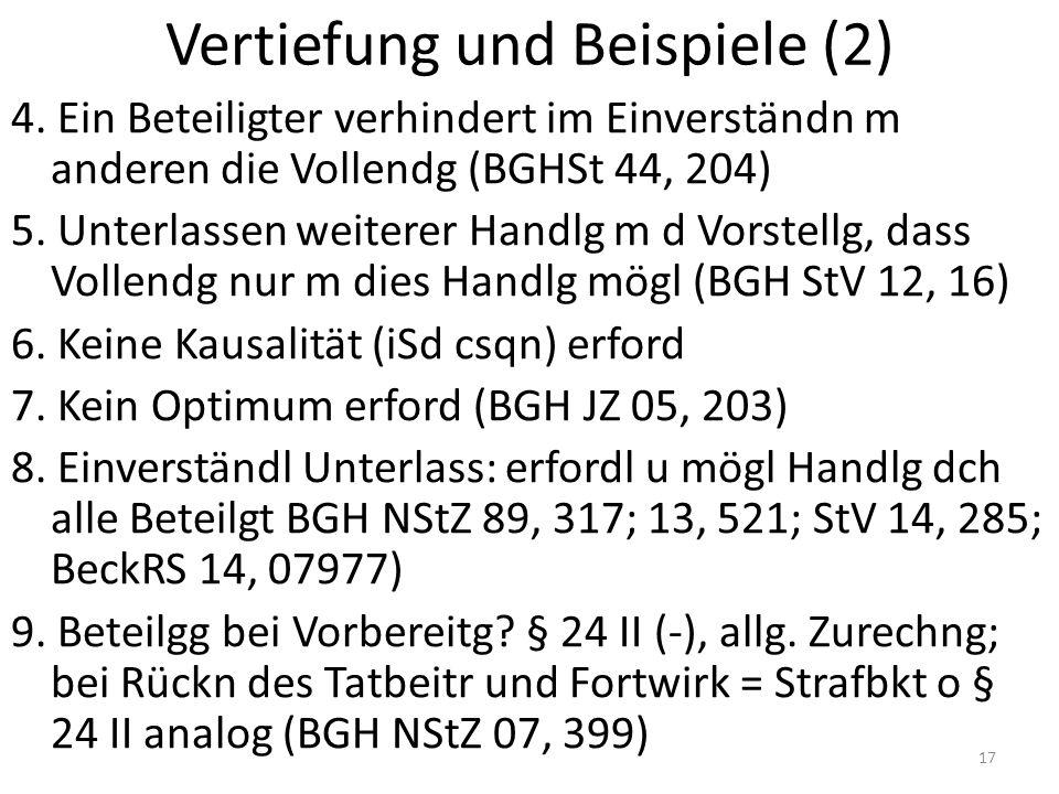 Vertiefung und Beispiele (2) 4. Ein Beteiligter verhindert im Einverständn m anderen die Vollendg (BGHSt 44, 204) 5. Unterlassen weiterer Handlg m d V