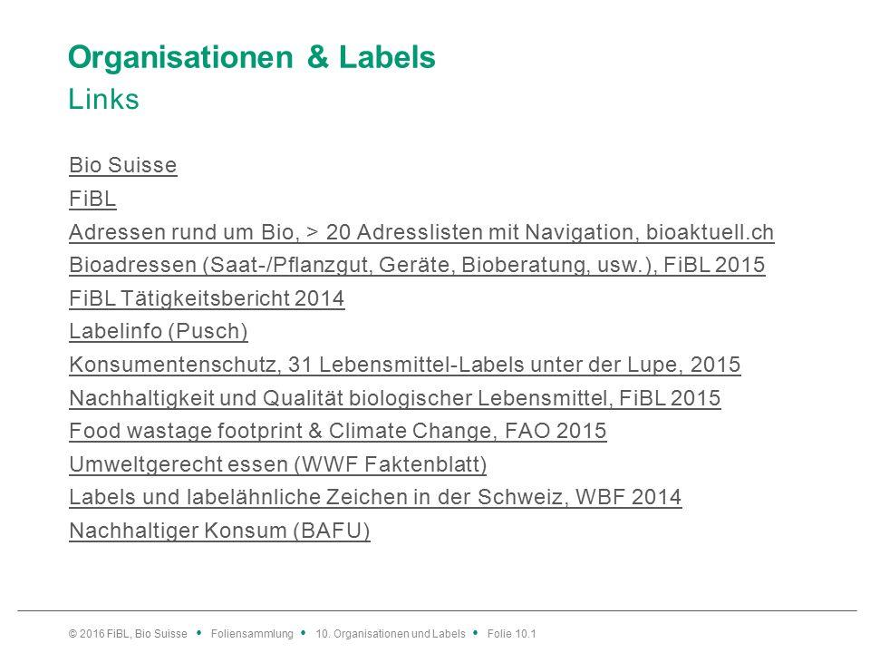 Organisationen & Labels Links Bio Suisse FiBL Adressen rund um Bio, > 20 Adresslisten mit Navigation, bioaktuell.ch Bioadressen (Saat-/Pflanzgut, Geräte, Bioberatung, usw.), FiBL 2015 FiBL Tätigkeitsbericht 2014 Labelinfo (Pusch) Konsumentenschutz, 31 Lebensmittel-Labels unter der Lupe, 2015 Nachhaltigkeit und Qualität biologischer Lebensmittel, FiBL 2015 Food wastage footprint & Climate Change, FAO 2015 Umweltgerecht essen (WWF Faktenblatt) Labels und labelähnliche Zeichen in der Schweiz, WBF 2014 Nachhaltiger Konsum (BAFU) © 2016 FiBL, Bio Suisse Foliensammlung 10.