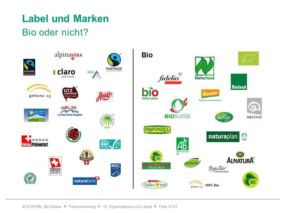 Label und Marken Bio oder nicht. © 2016 FiBL, Bio Suisse Foliensammlung 10.