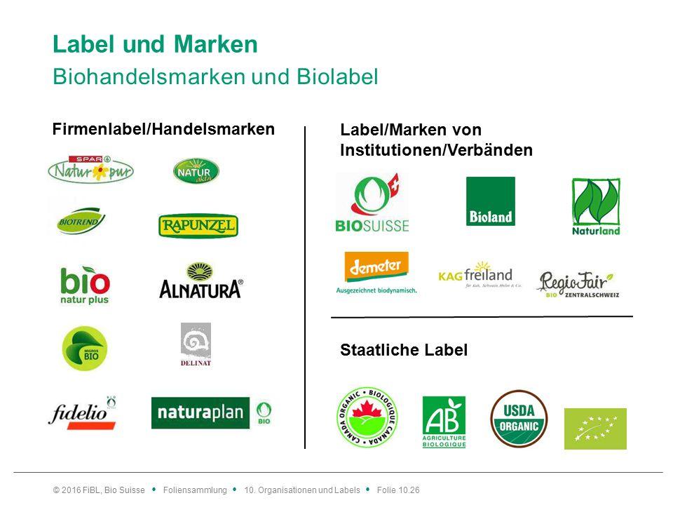 Label und Marken Biohandelsmarken und Biolabel © 2016 FiBL, Bio Suisse Foliensammlung 10.