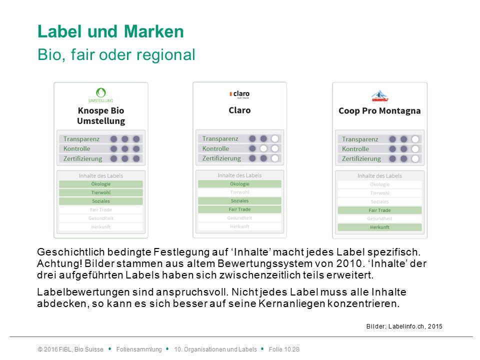 Label und Marken Bio, fair oder regional Bilder: Labelinfo.ch, 2015 © 2016 FiBL, Bio Suisse Foliensammlung 10.