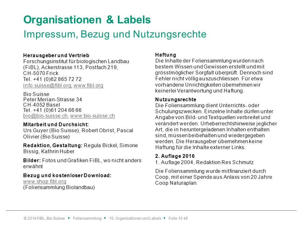 Organisationen & Labels Impressum, Bezug und Nutzungsrechte Herausgeber und Vertrieb Forschungsinstitut für biologischen Landbau (FiBL), Ackerstrasse 113, Postfach 219, CH-5070 Frick Tel.