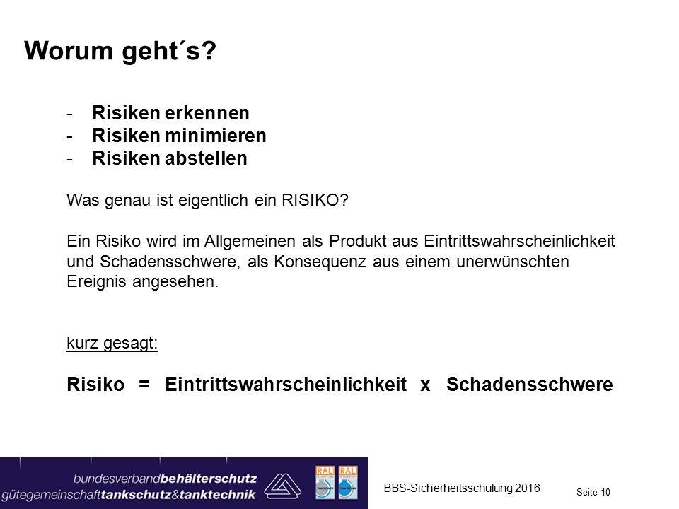 Worum geht´s? -Risiken erkennen -Risiken minimieren -Risiken abstellen Was genau ist eigentlich ein RISIKO? Ein Risiko wird im Allgemeinen als Produkt