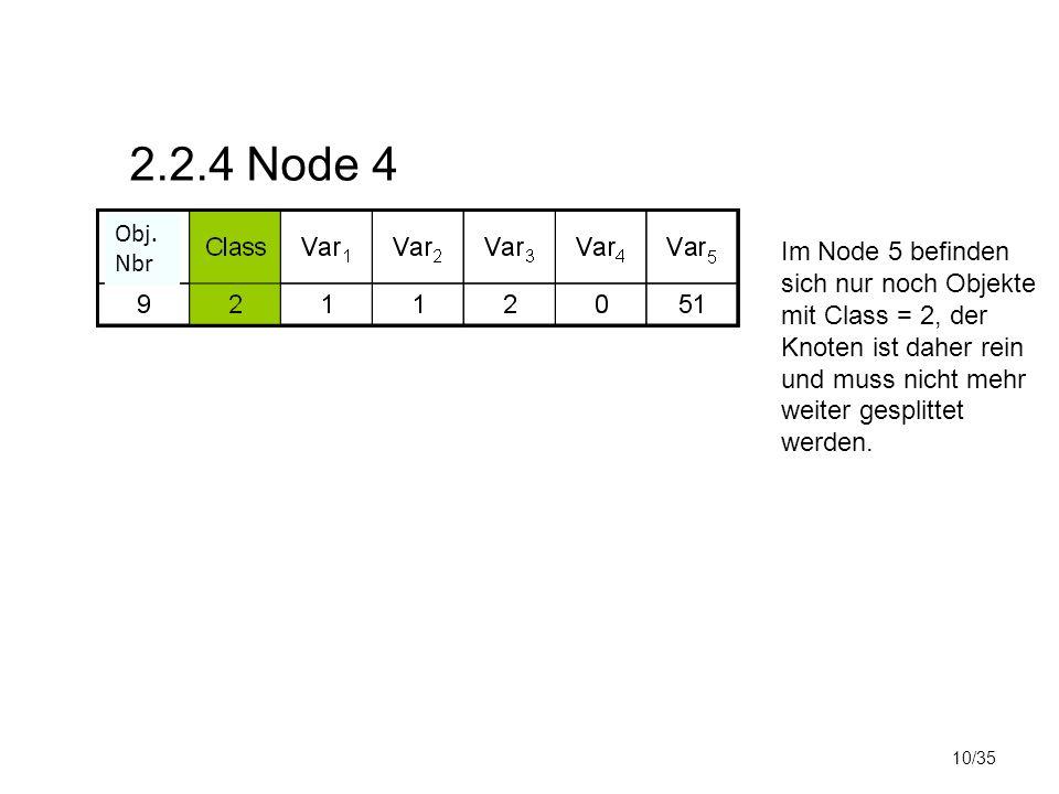 10/35 2.2.4 Node 4 Im Node 5 befinden sich nur noch Objekte mit Class = 2, der Knoten ist daher rein und muss nicht mehr weiter gesplittet werden. Obj