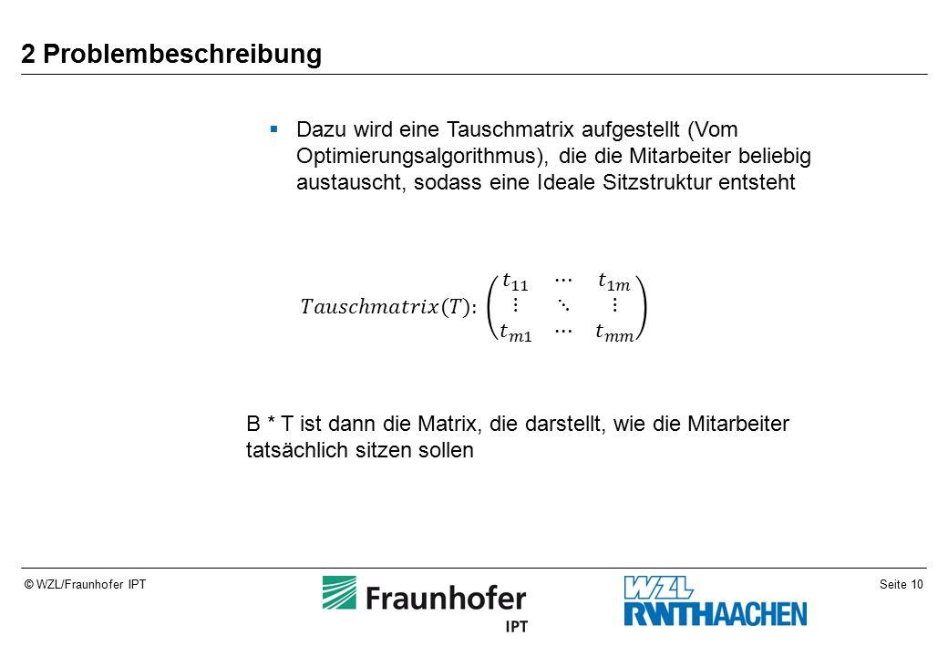 Seite 10© WZL/Fraunhofer IPT 2 Problembeschreibung  Dazu wird eine Tauschmatrix aufgestellt (Vom Optimierungsalgorithmus), die die Mitarbeiter beliebig austauscht, sodass eine Ideale Sitzstruktur entsteht B * T ist dann die Matrix, die darstellt, wie die Mitarbeiter tatsächlich sitzen sollen