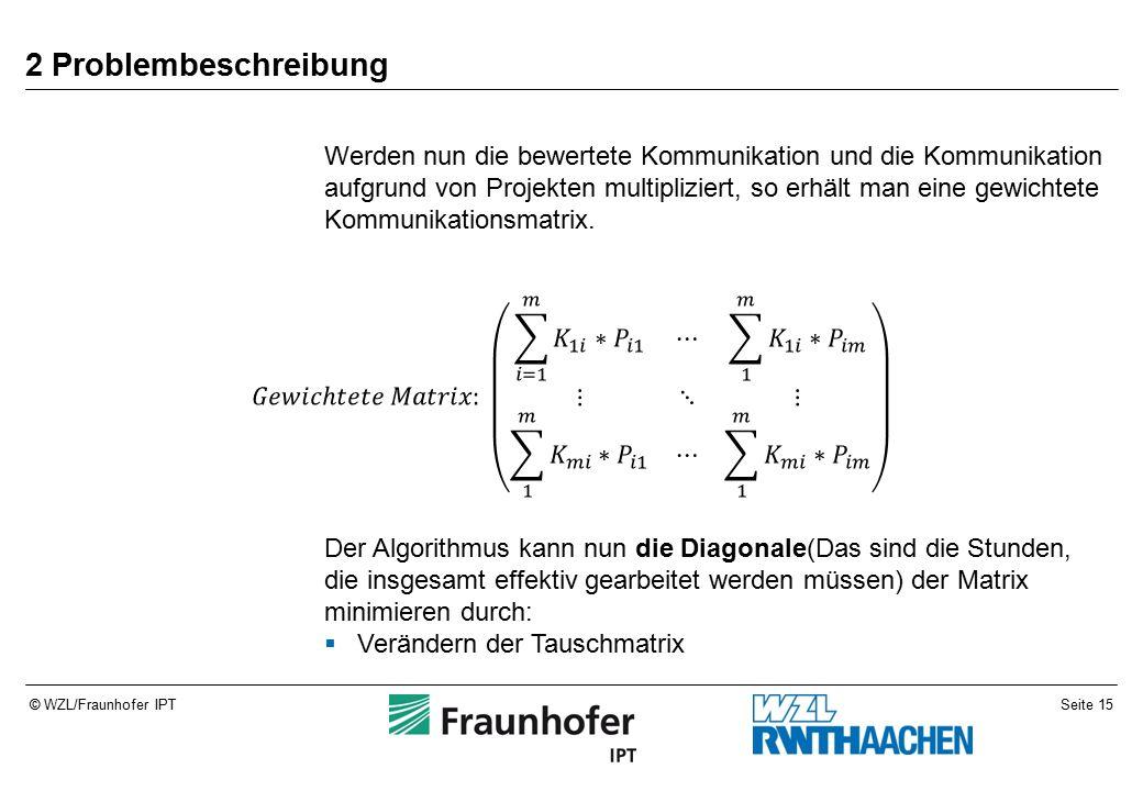 Seite 15© WZL/Fraunhofer IPT 2 Problembeschreibung Werden nun die bewertete Kommunikation und die Kommunikation aufgrund von Projekten multipliziert, so erhält man eine gewichtete Kommunikationsmatrix.