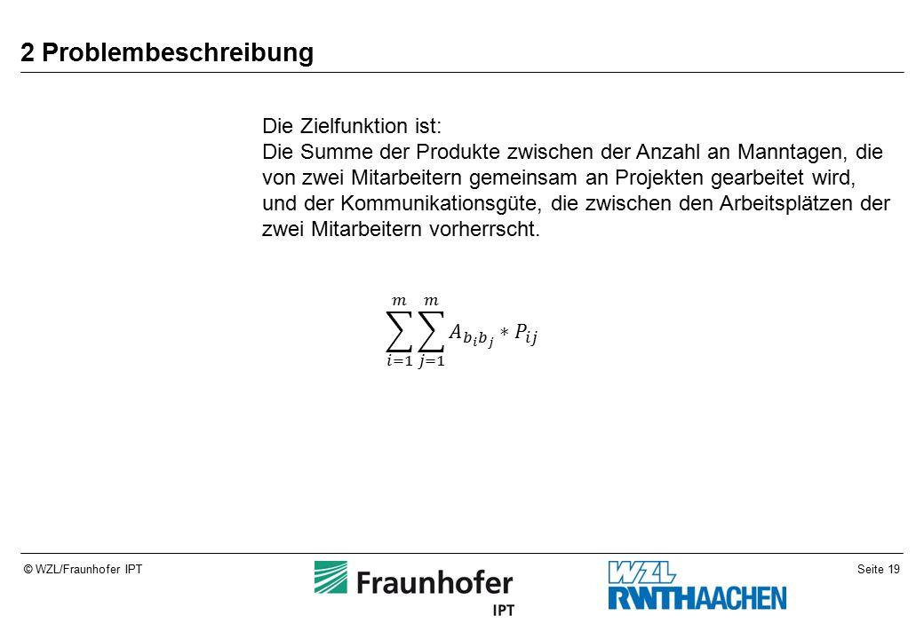 Seite 19© WZL/Fraunhofer IPT 2 Problembeschreibung Die Zielfunktion ist: Die Summe der Produkte zwischen der Anzahl an Manntagen, die von zwei Mitarbeitern gemeinsam an Projekten gearbeitet wird, und der Kommunikationsgüte, die zwischen den Arbeitsplätzen der zwei Mitarbeitern vorherrscht.