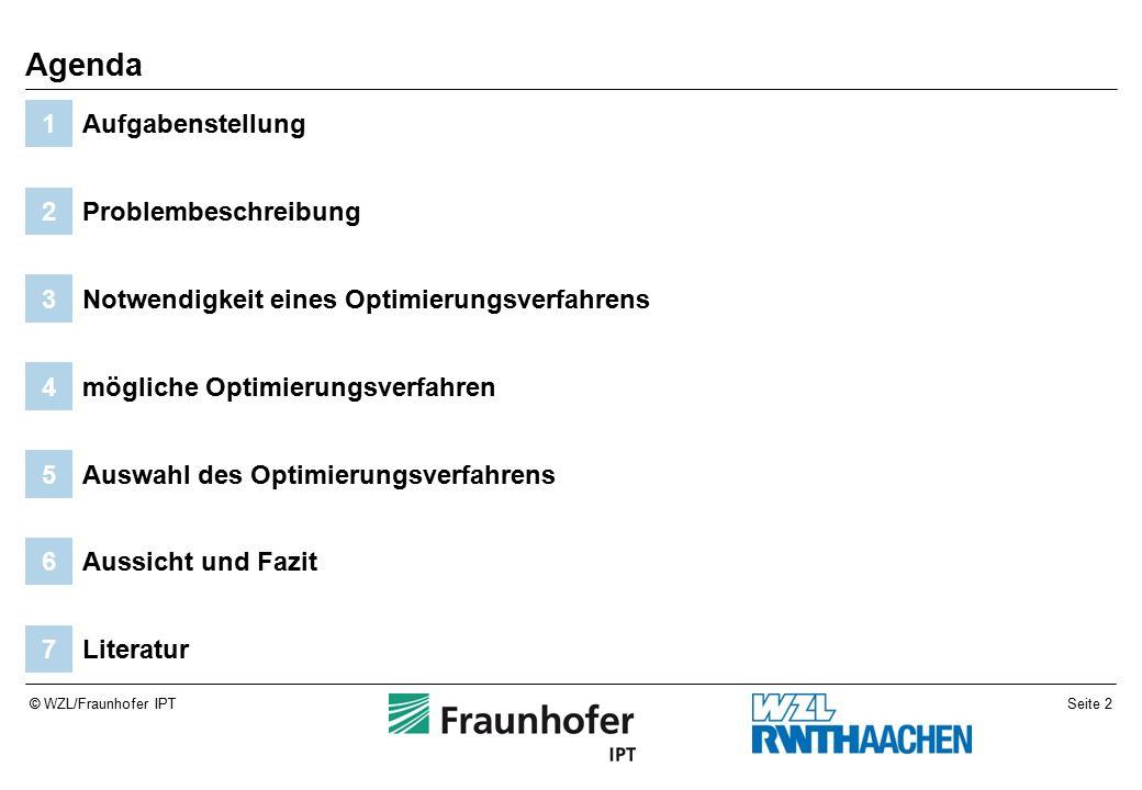 Seite 2© WZL/Fraunhofer IPT Literatur7 Aussicht und Fazit6 Auswahl des Optimierungsverfahrens5 mögliche Optimierungsverfahren4 Notwendigkeit eines Optimierungsverfahrens3 Problembeschreibung2 Aufgabenstellung1 Agenda