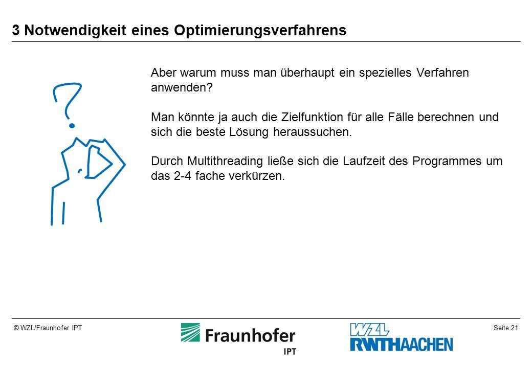Seite 21© WZL/Fraunhofer IPT 3 Notwendigkeit eines Optimierungsverfahrens Aber warum muss man überhaupt ein spezielles Verfahren anwenden.