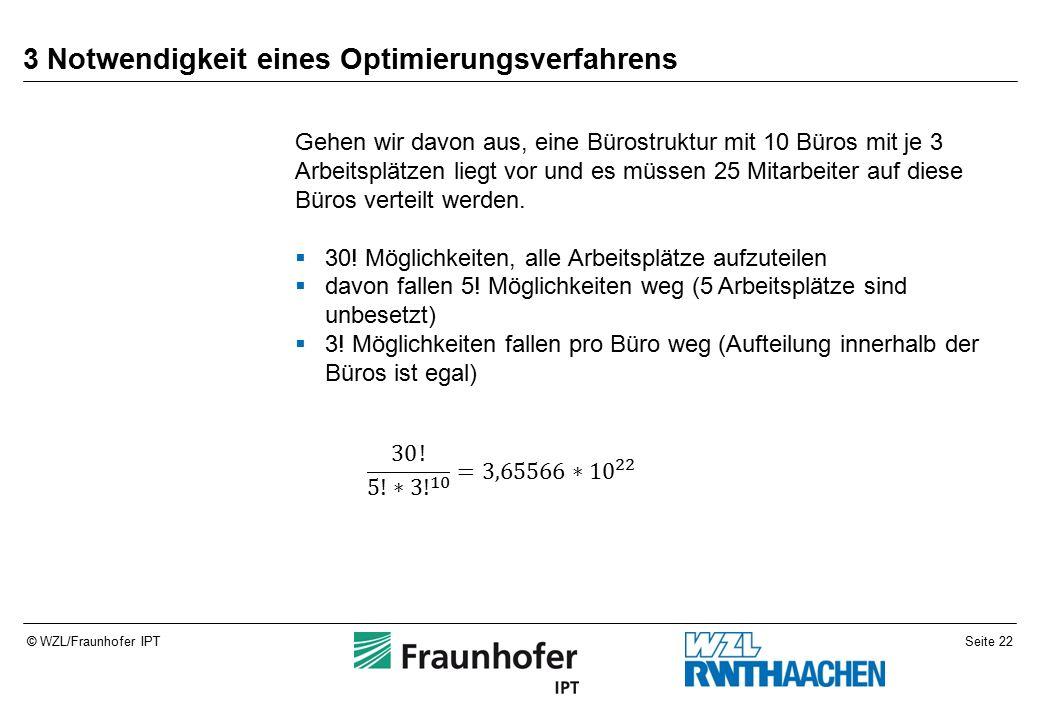 Seite 22© WZL/Fraunhofer IPT 3 Notwendigkeit eines Optimierungsverfahrens Gehen wir davon aus, eine Bürostruktur mit 10 Büros mit je 3 Arbeitsplätzen liegt vor und es müssen 25 Mitarbeiter auf diese Büros verteilt werden.