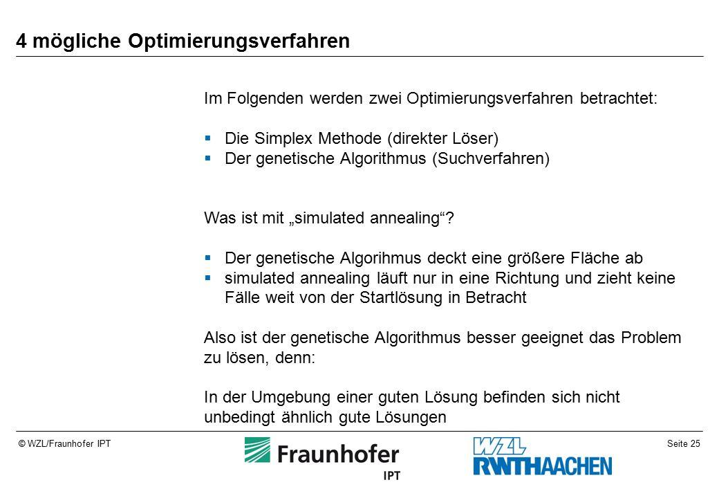 """Seite 25© WZL/Fraunhofer IPT 4 mögliche Optimierungsverfahren Im Folgenden werden zwei Optimierungsverfahren betrachtet:  Die Simplex Methode (direkter Löser)  Der genetische Algorithmus (Suchverfahren) Was ist mit """"simulated annealing ."""