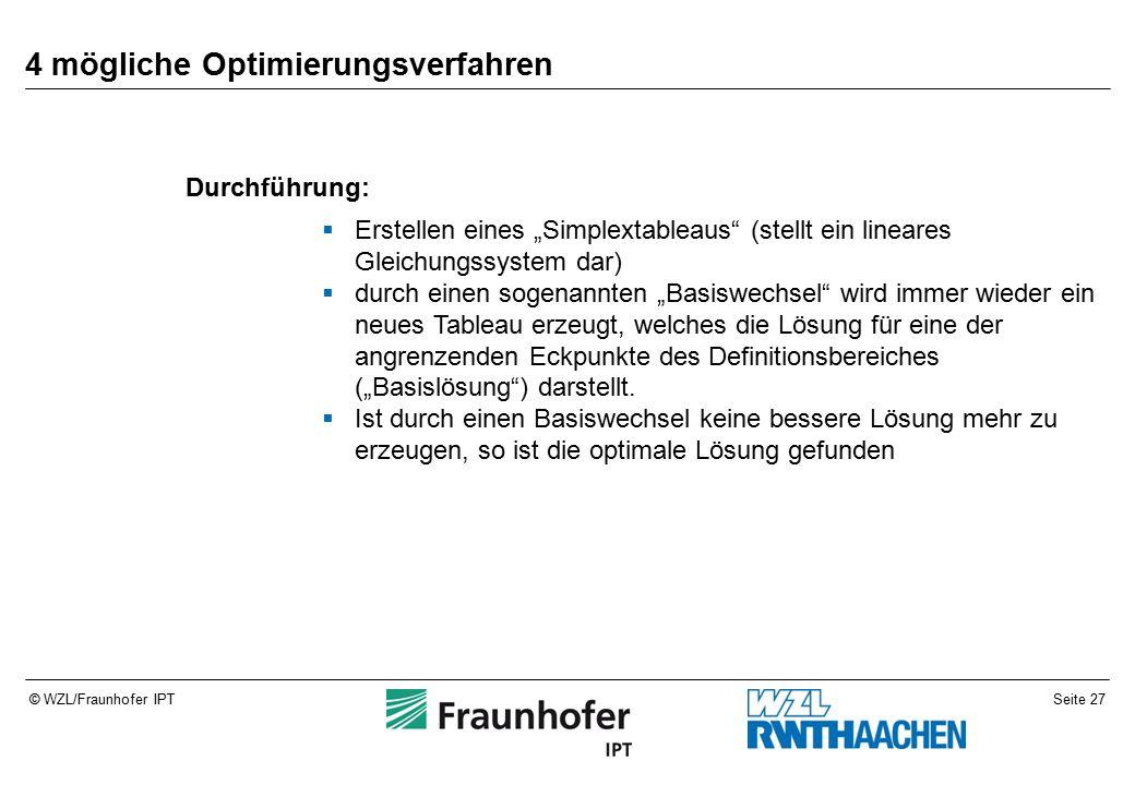 """Seite 27© WZL/Fraunhofer IPT 4 mögliche Optimierungsverfahren Durchführung:  Erstellen eines """"Simplextableaus (stellt ein lineares Gleichungssystem dar)  durch einen sogenannten """"Basiswechsel wird immer wieder ein neues Tableau erzeugt, welches die Lösung für eine der angrenzenden Eckpunkte des Definitionsbereiches (""""Basislösung ) darstellt."""
