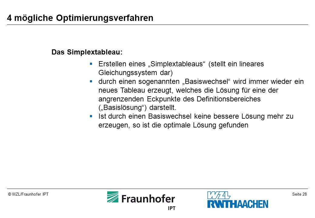 """Seite 28© WZL/Fraunhofer IPT 4 mögliche Optimierungsverfahren Das Simplextableau:  Erstellen eines """"Simplextableaus (stellt ein lineares Gleichungssystem dar)  durch einen sogenannten """"Basiswechsel wird immer wieder ein neues Tableau erzeugt, welches die Lösung für eine der angrenzenden Eckpunkte des Definitionsbereiches (""""Basislösung ) darstellt."""