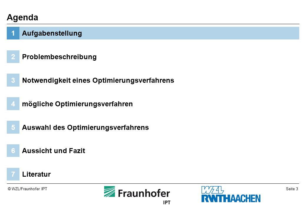 Seite 3© WZL/Fraunhofer IPT Literatur7 Aussicht und Fazit6 Auswahl des Optimierungsverfahrens5 mögliche Optimierungsverfahren4 Notwendigkeit eines Optimierungsverfahrens3 Problembeschreibung2 Aufgabenstellung1 Agenda