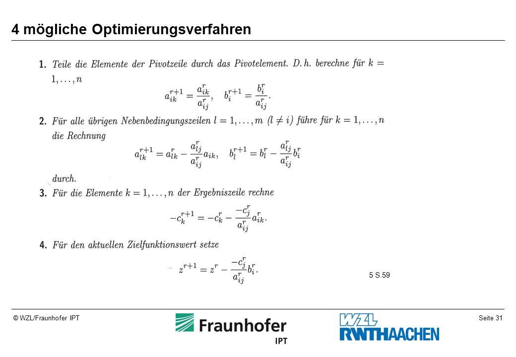 Seite 31© WZL/Fraunhofer IPT 4 mögliche Optimierungsverfahren 5 S.59