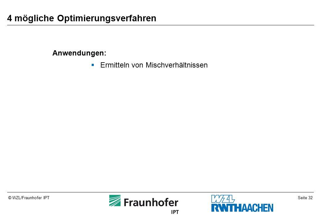 Seite 32© WZL/Fraunhofer IPT 4 mögliche Optimierungsverfahren Anwendungen:  Ermitteln von Mischverhältnissen