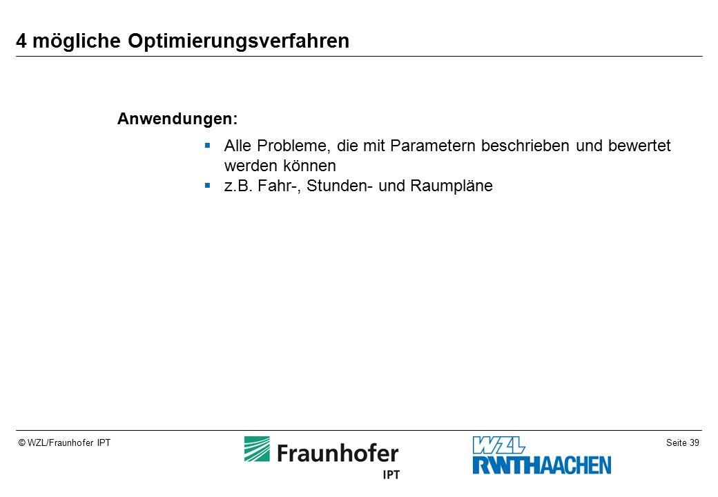 Seite 39© WZL/Fraunhofer IPT 4 mögliche Optimierungsverfahren Anwendungen:  Alle Probleme, die mit Parametern beschrieben und bewertet werden können  z.B.