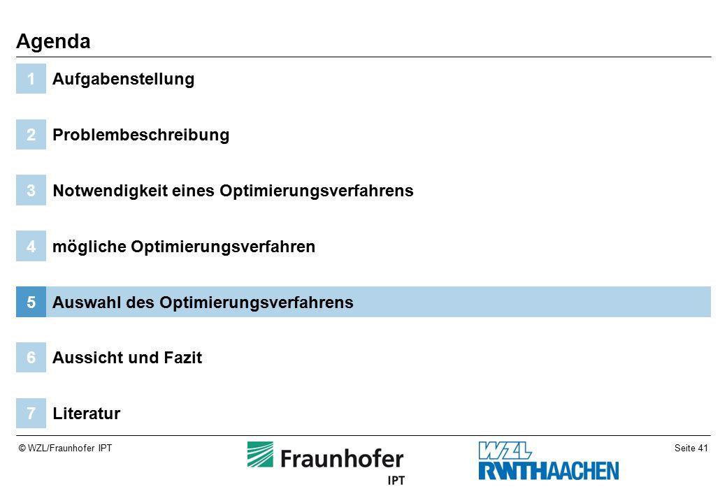 Seite 41© WZL/Fraunhofer IPT Literatur7 Aussicht und Fazit6 Auswahl des Optimierungsverfahrens5 mögliche Optimierungsverfahren4 Notwendigkeit eines Optimierungsverfahrens3 Problembeschreibung2 Aufgabenstellung1 Agenda